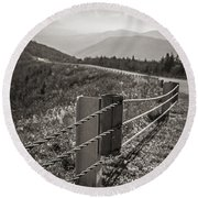Lonely Mountain Road Round Beach Towel