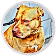 Lonely Pit Bull Round Beach Towel