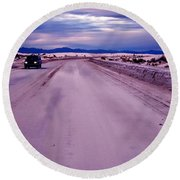 Lonely Road Round Beach Towel