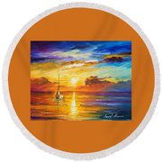 Lonely Sea 2 - Palette Knife Oil Painting On Canvas By Leonid Afremov Round Beach Towel