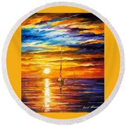 Lonely Sea 3 - Palette Knife Oil Painting On Canvas By Leonid Afremov Round Beach Towel