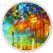 Lonely Stroll 3 Round Beach Towel