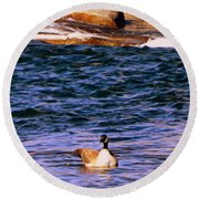 Lonely Swimmer Round Beach Towel