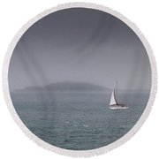 Lonely Travel Boat Travelling In The Ocean Round Beach Towel