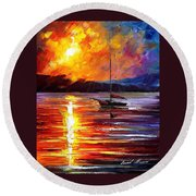Lonely Yacht - Palette Knife Oil Painting On Canvas By Leonid Afremov Round Beach Towel