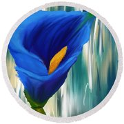 Lonesome And Blue- Blue Calla Lily Paintings Round Beach Towel