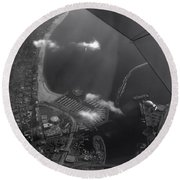 Long Beach Ca Aerial Bw Round Beach Towel