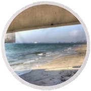 Long Beach From Beneath The Pier Round Beach Towel