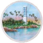 Long Beach Oil Island Round Beach Towel