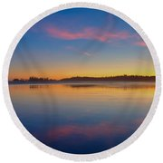 Long Beach Sunset Round Beach Towel