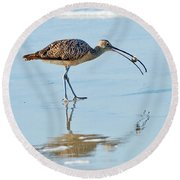 Long-billed Curlew With Crab Round Beach Towel