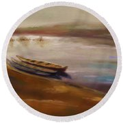 Long Boats At The Crossing Round Beach Towel