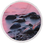 Long Exsposure Of Rocks And Waves At Sunset Maine Round Beach Towel