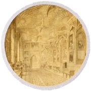 Long Gallery At Strawberry Hill Round Beach Towel