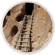 Long House Front Door Bandelier National Monument Round Beach Towel