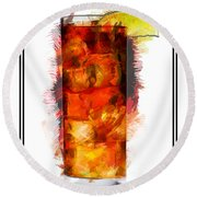 Long Island Iced Tea Cocktail Marker Sketch Round Beach Towel