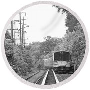 Long Island Railroad Pulling Into Station Round Beach Towel