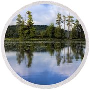 Long Lake Reflection Round Beach Towel