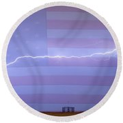 Long Lightning Bolt Across American Oil Well Country Sky Round Beach Towel by James BO  Insogna