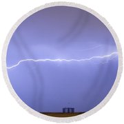 Long Lightning Bolt Strike Across Oil Well Country Sky Round Beach Towel by James BO  Insogna