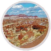 Long Logs Trail In Rainbow Forest In Petrified Forest National Park-arizona  Round Beach Towel