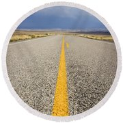 Long Lonely Road Round Beach Towel