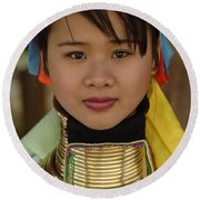 Long Necked Woman Of Thailand Round Beach Towel