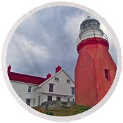 Long Point Lighthouse In Twillingate-nl Round Beach Towel