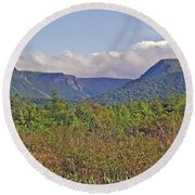 Long Range Mountains In Western Nl Round Beach Towel