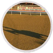 Long Shadow At Sunset Round Beach Towel