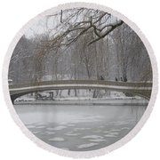 Long Snow Covered Bridge Round Beach Towel