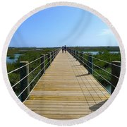 Long St. Augustine Marsh Dock Round Beach Towel