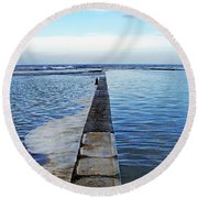 Long View To The Ocean Round Beach Towel
