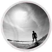 Longboarder Riding A Small Wave Round Beach Towel