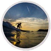 Longboarding Into The Sunset Round Beach Towel