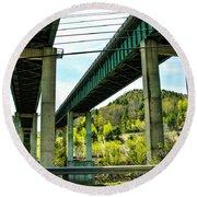 Longest Bridges In Vermont Round Beach Towel