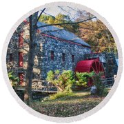 Longfellow's Wayside Inn Grist Mill In Autumn Round Beach Towel