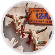 Longhorn Skulls On The Wall Round Beach Towel