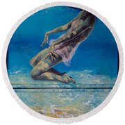 Longing From The Depths Round Beach Towel by Dorina  Costras