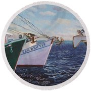 Longliners Achor To Anchor Round Beach Towel