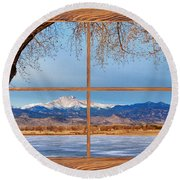 Longs Peak Across The Lake Barn Wood Picture Window Frame View Round Beach Towel