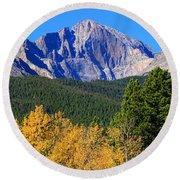 Longs Peak Autumn Aspen Landscape View Round Beach Towel
