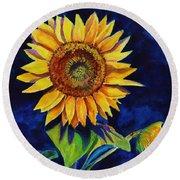 Midnight Sunflower Round Beach Towel