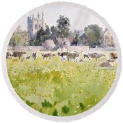 Looking Across Christ Church Meadows Round Beach Towel