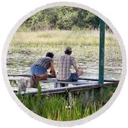 Looking At The Marsh Round Beach Towel