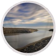 Looking At The Sea Round Beach Towel