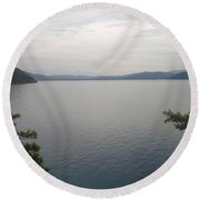 Looking Back At Gokova And Peaks Of Snow Round Beach Towel