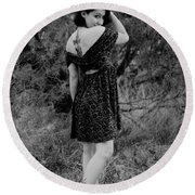 Looking Back In Black And White Round Beach Towel