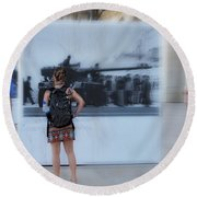 Looking Back In Time - Lisbon Round Beach Towel