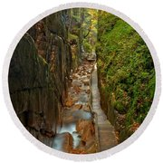 Looking Down Flume Gorge Round Beach Towel